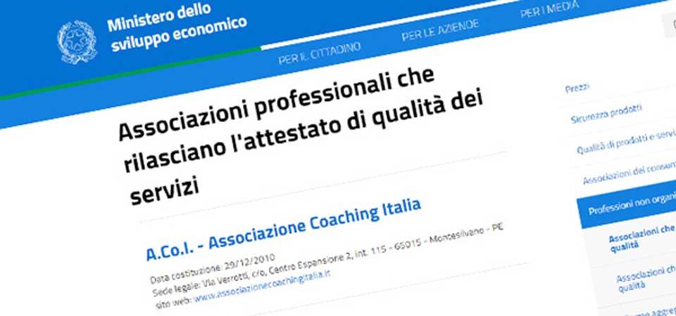 Associazione Coaching Italia - Ministero Sviluppo Economico